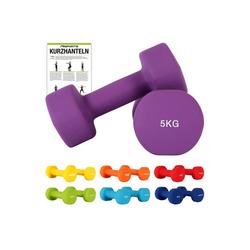 MSports® Hantel Hantelset Neopren 2er Set 0,5 – 5 kg Paar inkl. Übungsposter Kurzhanteln lila