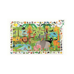 DJECO Puzzle Wimmelpuzzle Dschungel, 35 Teile + Poster, Puzzleteile
