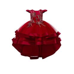 TOPMELON Abendkleid Girls' Schwalbenschwanz Kleid Prinzessin Kleid Kleid Kleid, Schnüren rot 140