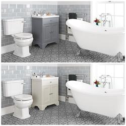 Set mit Badewanne, Waschtisch mit 630mm Unterschrank & WC mit aufgesetztem Spülkasten - Thornton, Retro Badezimmer Sets, von Hudson Reed