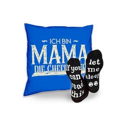 Soreso® Dekokissen Kissen Ich bin Mama die Chefin hier & Sprüche Socken Sleep, Muttertagsgeschenk Mama Muttertag blau