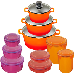 KING Topf-Set Shine Orange, Aluminiumguss, (Set, 10 tlg., 3 Töpfe, Deckel, 7 Dosen), Induktion orange Topfsets Töpfe Haushaltswaren