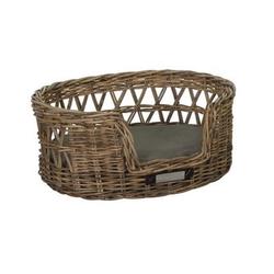 Klassischer Luxury Haustier-Rattankorb Oval, M: 65x55x27 / 62x48 cm