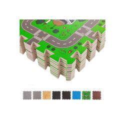 BodenMax Bodenturnmatte BodenMax Puzzlematte für Babys und Kinder - Spielm (18 Stück, 30x30cm 1cm Dick), inklusive 26 Randstücke