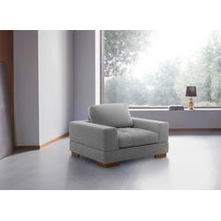 Places of Style Sessel Kolton, aus Massivholz Füßen, in den Bezügen Struktur und Echtleder grau
