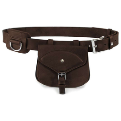 Das Lederband Jagdgürtel mit D-Ring und Tasche Graz Mocca, Länge: 95 cm