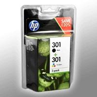 2 HP Tinten N9J72AE No 301 1 x BK + Color