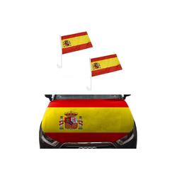 Sonia Originelli Fahne Auto Fan-Paket Haubenfahne Fensterfahnen Spiegelfahnen Magnetflaggen Spanien Spain Espana, Fanartikel für das Auto in Spanien-Farben Fanset-10
