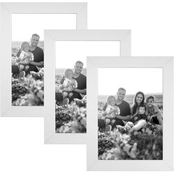 CABBEL Bilderrahmen, für 3 Bilder (Set, 3 Stück), 3er Set Bilderrahmen 10x15 MDF Holz-Rahmen mit bruchsicherem Acrylglas in Weiß weiß