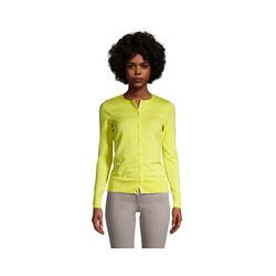 Supima Feinstrick-Cardigan, Damen, Größe: XS Normal, Gelb, Baumwolle, by Lands' End, Gelb Zitrone - XS - Gelb Zitrone