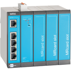 Insys icom MRX5 LAN, modularer LAN-LAN-Router, VPN 5xEthernet 10/100BT 2xdig.Ein MRcard-Slots:3xfrei, Router, Blau, Grau