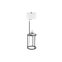 relaxdays Stehlampe Stehlampe mit Glastisch