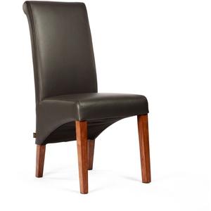 Esszimmerstuhl Felice | Dark Braun - Nussbaum Federkern Lederstühle Stühle Stuhl