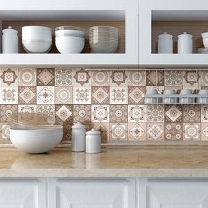 Fliesenaufkleber, selbstklebend, Zementfliesen, Wanddekoration, Fliesenaufkleber, Fliesenaufkleber, für Bad und Küche, 10 x 10 cm, 9 Stück