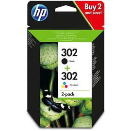 HP 302 schwarz + CMY