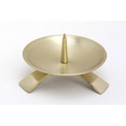 Taufkerzenhalter Dreifuß Gold gebürstet großem Dorn Ø 9,5 cm für Taufkerzen