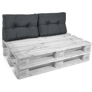 Beautissu Sitzkissen Style, 2 Palettenkissen Rücken 60x40x20cm grau