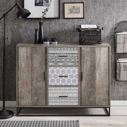 Modernes Sideboard in Grey Wash Optik 120 cm breit