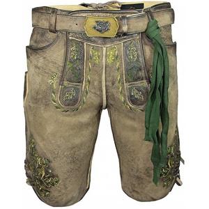 """Maddox Trachtenlederhose """"Hartsee"""" mit Gürtel - Erde Gold, Kurze Herren Lederhose mit grünem Stick 56"""