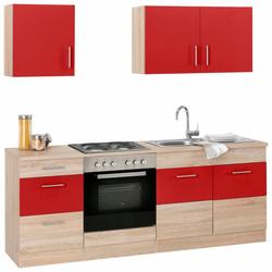 Küchenzeile Perth, ohne E-Geräte, Breite 210 cm rot