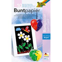 folia Buntpapier gummiert farbsortiert 80 g/qm 10 Blatt