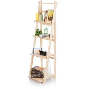 Treppenregal 150cm Holz Regal Dekoregal Standregal Leiterregal Klappbar Natur