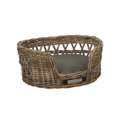 Klassischer Luxury Haustier-Rattankorb Oval, S: 55x45x24 / 50x42 cm