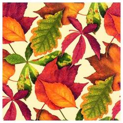 Linoows Papierserviette 20 Servietten, Buntes Herbstlaub auf Baige, Herbst, Motiv Buntes Herbstlaub auf Baige, Herbstszene