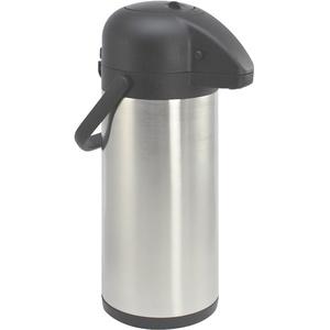 com-four® 3L Isolier-Pumpkanne - 3 Liter Airpot aus Edelstahl - Doppelwandige Isolierkanne mit Pumpmechanismus (01 Stück - 3 Liter)