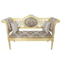 Casa Padrino Barock Sitzbank Grau Creme Muster / Gold 155 x 50 x H. 70 cm - Antikstil Sitzbank