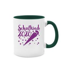 Shirtracer Tasse Schulkind 2020 mit Schultüte und Sternchen lila - Einschulung und Schulanfang - Tasse zweifarbig - Tassen, schulkind tasse 2020