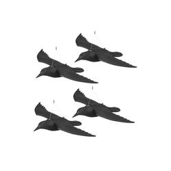 relaxdays Gartenfigur 4 x Taubenschreck Krähe fliegend