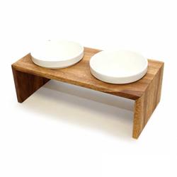 Wolters Gohan Doppelnapf teak, Größe: XS / 14 x 28 x 5 cm