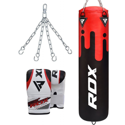 RDX F9 Training Boxsack Mit Tasche Mitts (Größe: 4FT, Farbe: Rot/Schwarz)