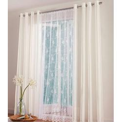 Scheibengardine, dynamic24, Kräuselband, 2x My Home Gardine Scheibengardine Fenster Vorhang Deko Store Weiß Fertigdeko transparent 175 cm x 160 cm
