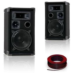 600W PAAR Boxen DJ-Pro 8 +Boxenkabel 2x 1,5mm2 10m