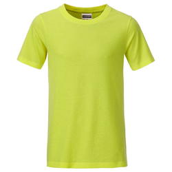 T-Shirt für Jungen | James & Nicholson acid-yellow 134/140 (L)