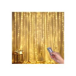 Vaxiuja LED-Lichterkette LED Lichtervorhang, 3m x 3m 300 LEDs USB Lichterkettenvorhang Warmweiße Fensterleuchten mit 8 Modi Vorhang Lichterketten IP44 Wasserfest für Außen, Innen, Party, Weihnacht, Schlafzimmer