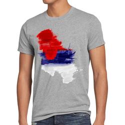 style3 Print-Shirt Herren T-Shirt Flagge Serbien Fußball Sport Serbia WM EM Fahne grau M