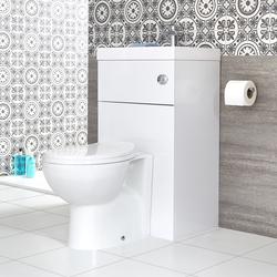 Ovale Toilette mit Spülkasten und integriertem Waschbecken Weiß, inkl. Spülkastenverkleidung, von Hudson Reed