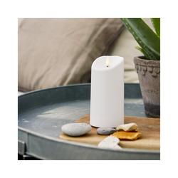 STAR TRADING LED-Kerze LED Stumpenkerze FLAMME - Kunststoff - 3D Flamme - H: 15cm - Timer - outdoor - weiß