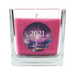 HS Candle Duftkerze (1-tlg), Frohes Neues Jahr - Kerze im Glas, Kerze mit Neujahr - Motiv, vers. Düfte / Größen lila 8 cm x 8 cm x 8 cm