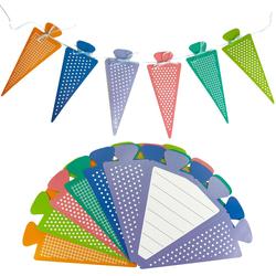 6x Zuckertüte als Einladungskarten oder Girlande für Schuleinführung Einschulung Einladungen