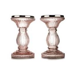 ELAMBIA 2 Glas-Kerzenständer Säulenform Höhe 17,5cm, Ø 10cm Farbauswahl
