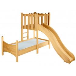 BioKinder - Das gesunde Kinderzimmer Kinderbett Noah, 90x200 cm mit Spielturm und Rutsche