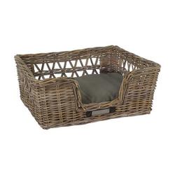 Klassischer Luxury Rattankorb für Hunde, M: 64x55x27 / 60x48 cm