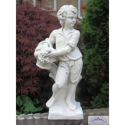 BAD-KP-0201 Gartenfigur Gärtner mit Weinkorb als Garten Dekofigur Beton Steinguss Figur 75cm 40kg (Farbe: ocker)