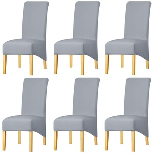 KELUINA Feste Gewebe-Ausdehnung XL-Stuhlhussen der hohen Rückseite für Esszimmer, Spandex-große Esszimmerstuhl-Schonbezüge für Hauptlebensrestaurant-Hotel (Light Gray,Set of 6)