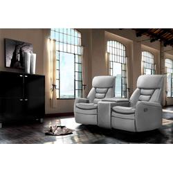 Cinema Sessel 2er mit hellgrauem Kunstleder bezogen, Relaxfunktion Aufbewahrungsfach u 2 Getränkehalter, Maße: B/H/T ca. 164/105/90 cm