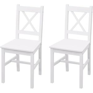 2x Esszimmerstuhl MCW-F77, Lehnstuhl Küchenstuhl Stuhl, Massiv-Holz Landhaus ~ weiß